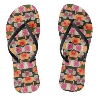 Colored Roses Pattern Flip Flops