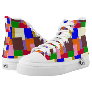 Colored Squares Design High Tops