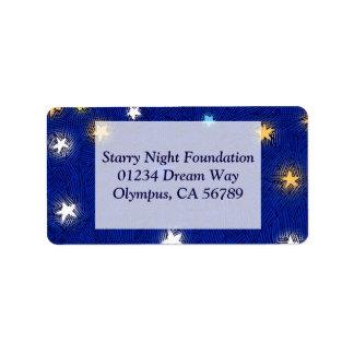 Colored Stars Etching Custom Address Label