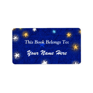 Colored Stars Etching Custom Bookplate Label