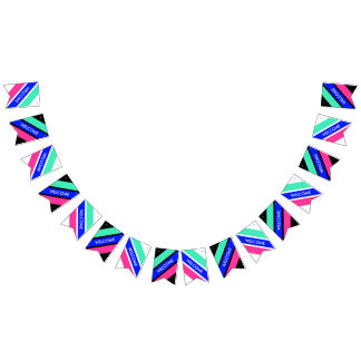 Colored Stripes Mix - mint, royal blue, pink Bunting Flags