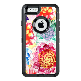 Colored Succulent Plants Artsy Watercolor OtterBox Defender iPhone Case