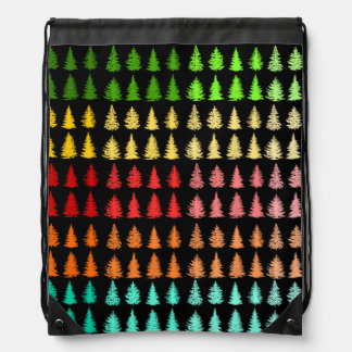 Colored Trees Drawstring Backpack
