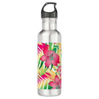 Colored tropical flowers 710 ml water bottle