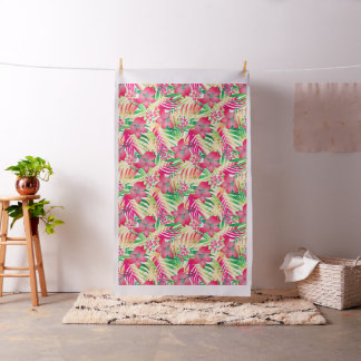 Colored tropical flowers fabric
