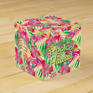 Colored tropical flowers favor box