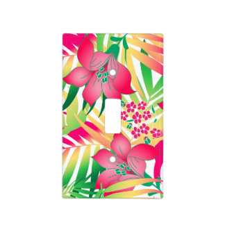 Colored tropical flowers light switch cover