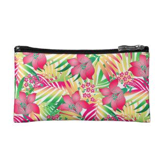 Colored tropical flowers makeup bag