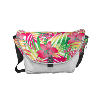 Colored tropical flowers messenger bags