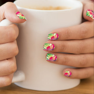 Colored tropical flowers minx nail art