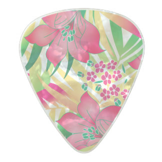 Colored tropical flowers pearl celluloid guitar pick