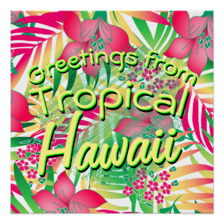 Colored tropical flowers poster