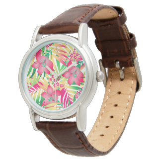 Colored tropical flowers watch