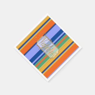 Colored Vertical Lines Paper Napkin 2