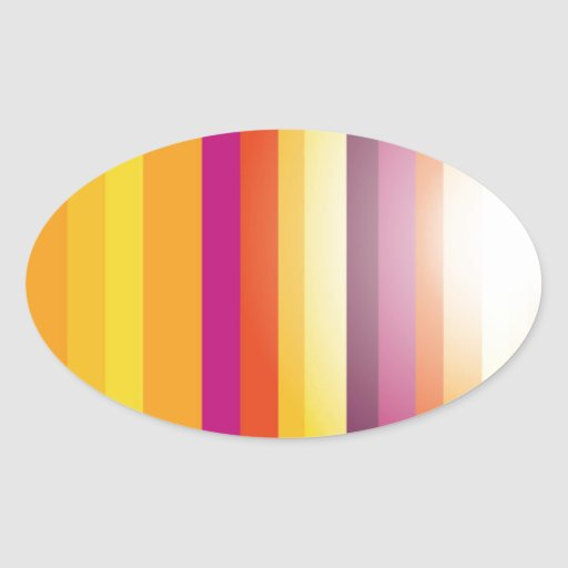 Colored Vertical Stripes Background Vector Oval Sticker