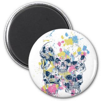 colored vintage skulls 2 inch round magnet