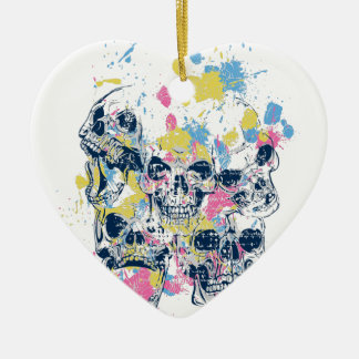 colored vintage skulls ceramic ornament