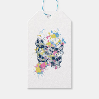 colored vintage skulls gift tags