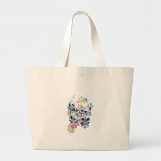 colored vintage skulls large tote bag