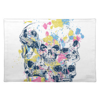 colored vintage skulls placemat