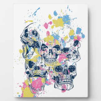 colored vintage skulls plaque