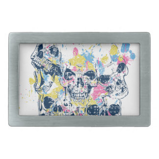 colored vintage skulls rectangular belt buckle
