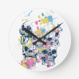 colored vintage skulls round clock