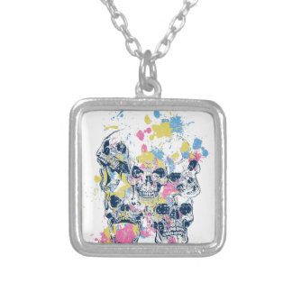 colored vintage skulls silver plated necklace