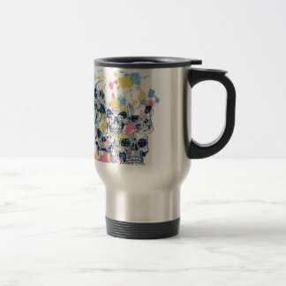 colored vintage skulls travel mug
