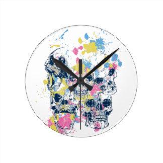 colored vintage skulls wallclocks