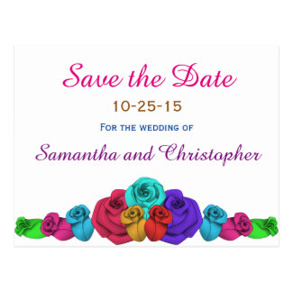 Colored wedding roses   Save the date Postcard