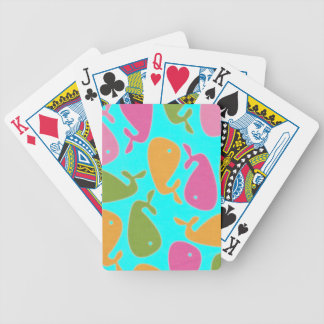 colored whales bicycle playing cards