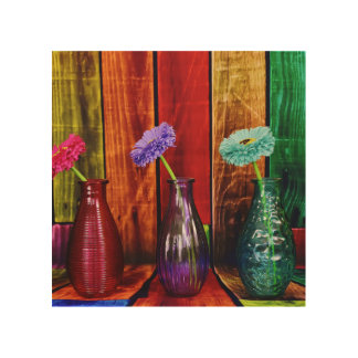 Colored Wood Bottles with Flowers Wood Wall Art
