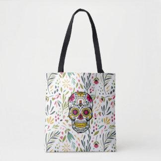 Colorfu Flowers Pattern & Sugar Skull Tote Bag