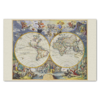 Colorfu Vintage Celestial Figures Old World Map Tissue Paper