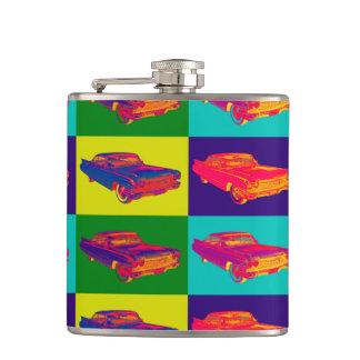 Colorful 1960 Cadillac Luxury Car Pop Art Hip Flask