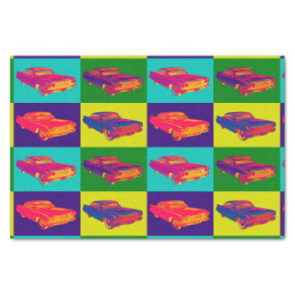 Colorful 1960 Cadillac Luxury Car Pop Art Tissue Paper