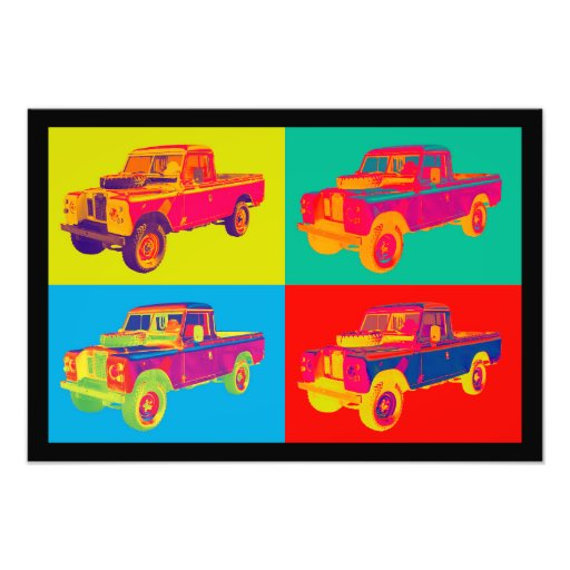 Colorful 1971 Land Rover Pickup Truck Pop Art Photo Art
