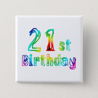 Colorful 21st Birthday Gifts 2 Inch Square Button