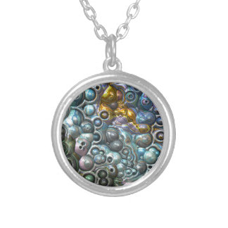 Colorful 3D Clusters Silver Plated Necklace