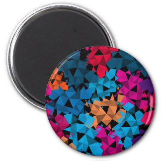 Colorful 3D geometric Shapes 2 Inch Round Magnet