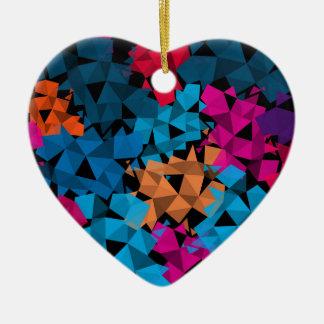 Colorful 3D geometric Shapes Ceramic Heart Ornament