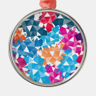 Colorful 3D geometric Shapes Silver-Colored Round Ornament