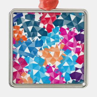 Colorful 3D geometric Shapes Silver-Colored Square Ornament