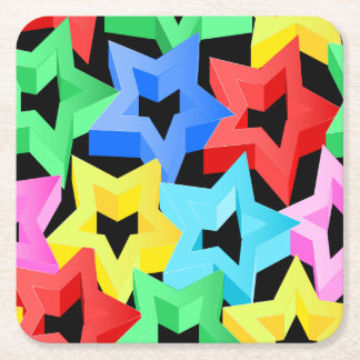 Colorful 3D stars Square Paper Coaster
