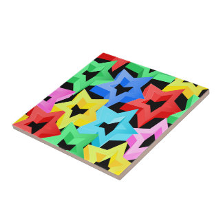 Colorful 3D stars Tile
