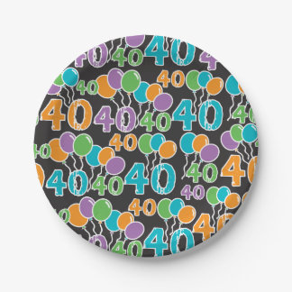 Colorful 40th Birthday Paper Plate
