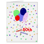 Colorful 50th Birthday Balloons Greeting Card