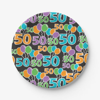 Colorful 50th Birthday Paper Plate