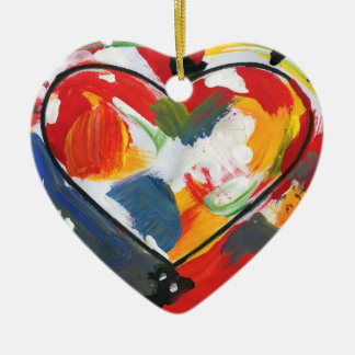 colorful 60s peter max style Heart ornament